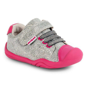 pediped Girls Grip n Go Jake Silver Sparkle Sneakers Toddler US Size 7/ EU 23