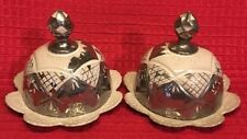 """""""ANTHROPOLOGIE"""" Set of 2 Silver Trim Butter Dishes"""