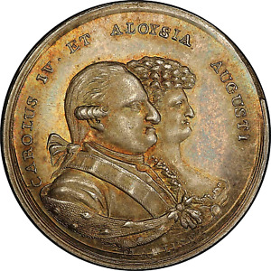 1789 SORIA SPAIN CARLOS IV SILVER PROCLAMATION MEDALLIC REAL PCGS MS-64