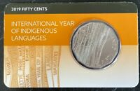 ONE Fifty 50 Cents Coin UNC 2019 International Year Indigenous Languages In Card