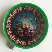 Vtg 60s Fabulous Las Vegas Plastic Push Button Sm Pocket Roulette Wheel Souvenir