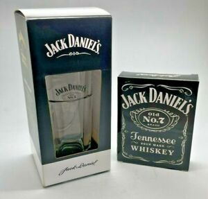 JACK DANIELS TALL GLASS & 6oz HIP FLASK - GLASS TUMBLER HOME BAR WHISKEY WHISKY