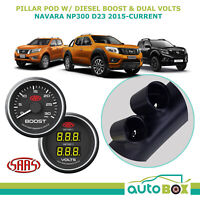 Pillar Pod w/ Black Boost Dual Volts Gauge for Nissan Navara NP300 D23 2015-on