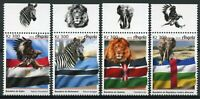 Angola Wild Animals Stamps 2019 MNH African Flags Zebras Lions Elephants 4v Set