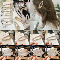 Girls Crystal Pearl Hair Clip Snap Barrette Hairpin Bobby Hair Clips Accessories