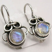 """925 Solid Silver Facetted RAINBOW MOONSTONE FACTORY DIRECT Earrings 7/8"""""""