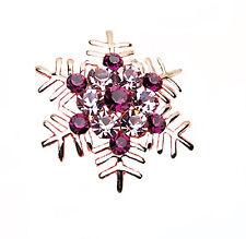 Meravigliosi Oro Lucido & Cristallo Viola Fiocco di neve Spilla Natale BR108