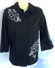 Ladies Black Shirt 3/4 Sleeve Embroidered Cotton With Beading White Trim