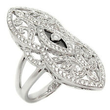 Antique Style 14Kw Solid Gold Diamond Ring 0.74Tcw Pave Setting H/Si Round Cut