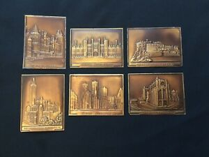 6 Rare Summit Metal Cigarette Cards 1934 Vintage Copper Buildings and Monuments