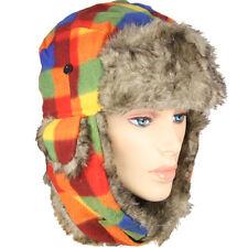 Warm Colors Winter Plaid Trooper Trapper Unisex Pilot Aviator Hat w/ Faux Fur