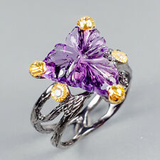 Vintage Natural Amethyst 925 Sterling Silver Ring Size 8.5/R123292