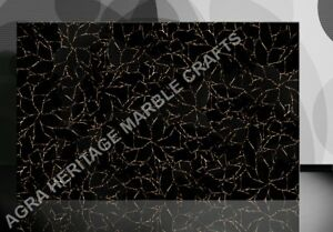 4'x2' Black Marble Dining Room Inlay Table Top Obsidian With Gold Decor E266