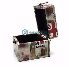 Wooden Jewelry Box Mini Chest Vintage Chic Storage London Souvenir Union Jack