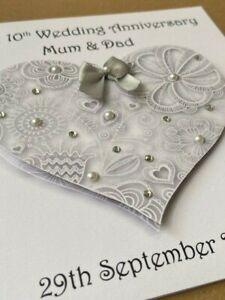 Personalised Wedding Anniversary Card 3D Heart Handmade Mum Dad Husband Wife