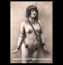 Exotic Nude Belly Dancer Girl PHOTO Vintage Egyptian, Breasts Princess Art Print