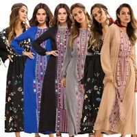 Ethnic Muslim Women Long Maxi Dress Flower Printed Abaya Islamic Dubai Dresses