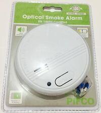 PIFCO British Standard Optical Smoke Detectors Fire Alarm EN14604 Certified 9v