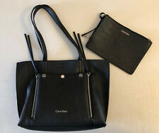 Calvin Klein Black Double Strap Snap TOTE Bag Purse with Zip Pouch