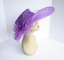 NEW Church Derby Wedding Organza w Big Ribbon Unbalanced Brim hat Purple VF1597