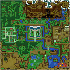 Canvas Print Nintendo Zelda Link to the Past Light World Map 24x24 Giclee Poster