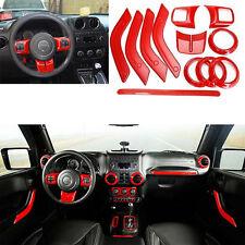 12pcs Full Set Interior Decoration Trim Kit Fits For Jeep Wrangler 2011-2016 Red