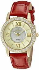 Peugeot Women's 3044GRD Gold Crystal Bezel Red Leather Strap Analog Display Quar
