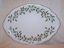 Lenox Holiday Holly Platter Scalloped in Box
