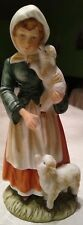 VINTAGE Lefton 'Girl with Lambs' Porcelain Bisque Figurine # 728