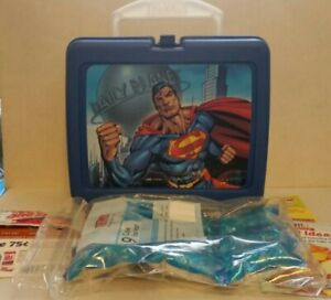 2007 Thermos Brand Superman Blue Plastic Lunch Box w/freezer pack. NEW NOS