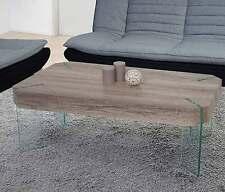 Table basse de salon Kos T578, FSC 40x110x60cm ~ chêne sauvage, pieds en verre