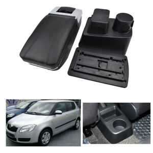 Car Armrest For Skoda Fabia 2 2008-2013 Storage Box Rotatable Cup Holder