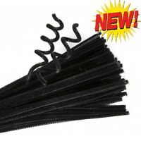 "Black Pipe Cleaners Chenille Halloween Craft Stems Arts Crafts 100 x 6"" Colours"