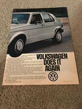 Vintage 1981 VOLKSWAGEN VW RABBIT DIESEL Car Print Ad 1980s RARE