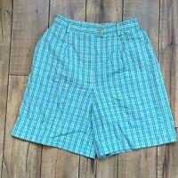 Vintage David Brooks Green Plaid High Waist Bermuda Shorts Size 4P
