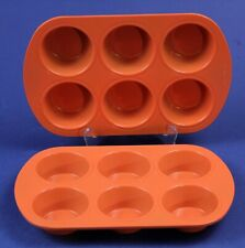 (2) 6 Cup Halloween Orange Metal Muffin Pans