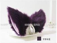 1 pair Lolita Anime Cosplay long fur Fox ears Purple Party Neko Cat ear headwear