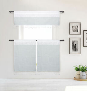 Cotton White/Gray Stripe 3 Pc Window Curtain Set: Tassels, Valance, 2 Tiers 36L