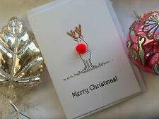 1 Handmade Rudolph Bobble nose Christmas Card   matching Christmas gift tags