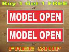 """White on Red Model Open 6""""x24"""" Real Estate Rider Signs Buy 1 Get 1 Free 2 Sided"""