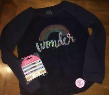 So Sz 14 Rainbow Sequin Navy Fleece Sweatshirt Top NWT Bracelet Jewelry Lot