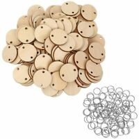 5X(100 Pieces Round Wooden Discs with Holes Birtay Board Tags and 100 Piec T9)