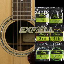 6 Corde per Chitarra Acustica #1 #2 #3 #4 #5 #6 Colorati Acciaio Inox Rame ex1l