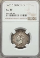 G.B./ENGLAND GEORGE IV  1826  1 SHILLING SILVER COIN CERTIFIED BY NGC AU-55
