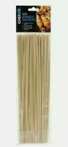 3 x 100 Wooden Bamboo Skewers 25.5cm BBQs Kebabs Chocolate Fountain Fruits