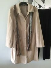 KATIES Tan Beige Long Jacket Coat Lined Stretch Pockets 12 PC + Free Scarf