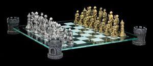 Cavaliere Scacchi Salita Torre Del Castello - Set Chessmen Medioevo Argento Oro