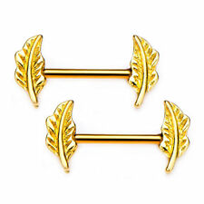 Pair of Nipple Barbells with Forward Facing Feather Gold PVD Plated.