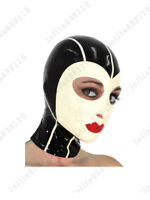 385 Latex Custom Costume Hood rouge à lèvres masque exceptionnel catsuit 0.4mm