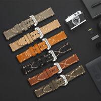 ZLIMSN Mens Thick Genuine Leather Wrist Watch Band Strap Silver Buckle 20 - 26mm